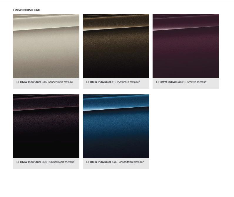 эксклюзивные цвета bmw x7 individual
